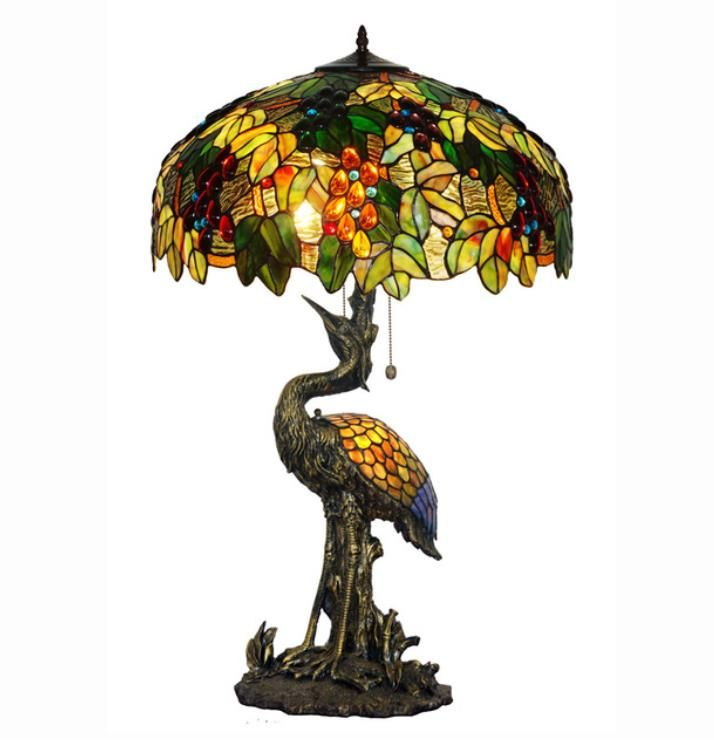 Luxus Glasmalerei Vogel lampe Hoch Schreibtisch Tisch Lampe Licht Art Decor Wohnzimmer Büro Bar Zähler Hotel Cafe Dekorative
