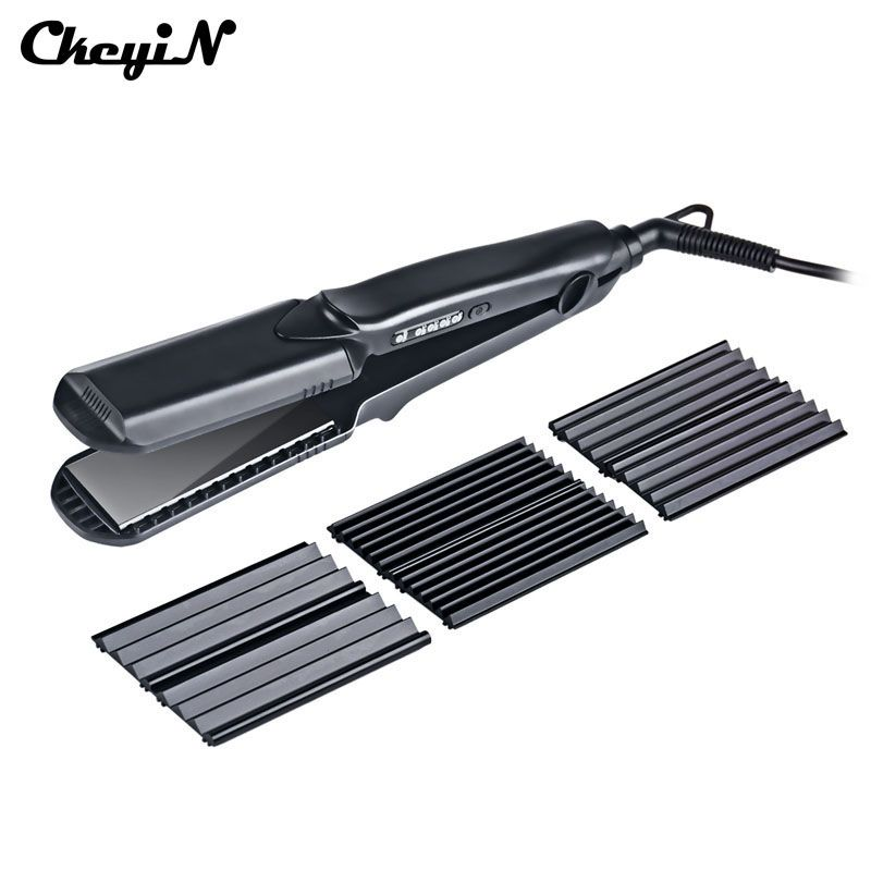 CkeyiN Professional Tourmaline Ceramic Corn Plate Hair Straightener Styling Tools Corrugated Crimper Waves Straightening Iron 43