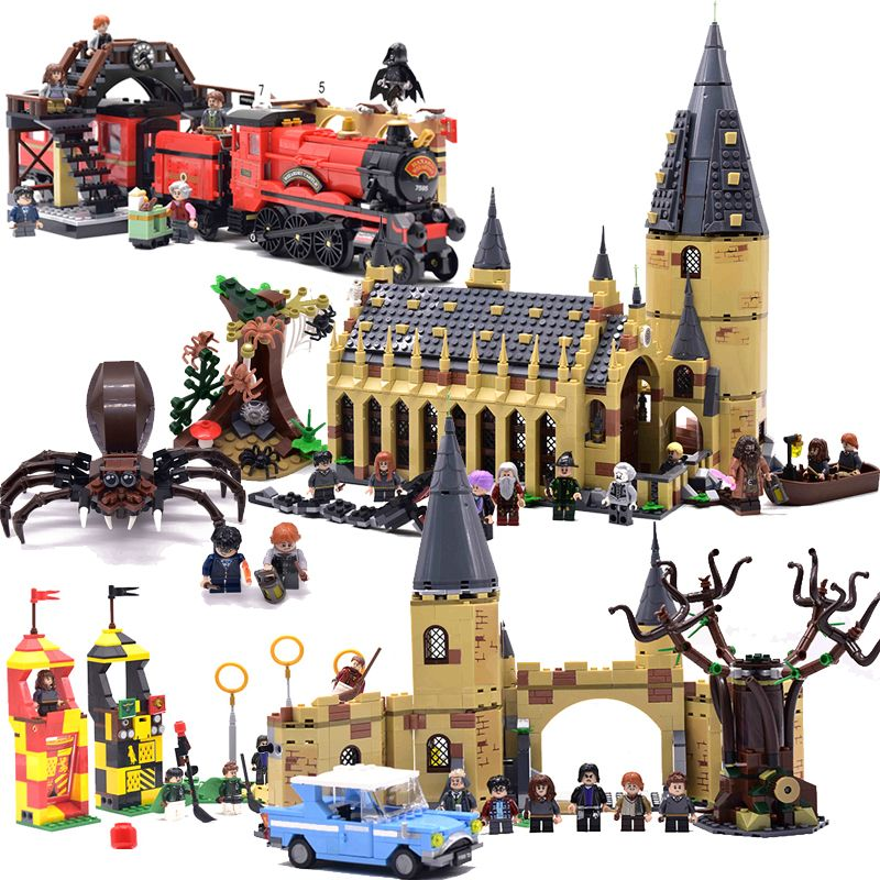 Harri Potter Hogwarts Castle Express Train Building Blocks House Mini Bricks Figures Toys For Children Fantastic Beasts legoings