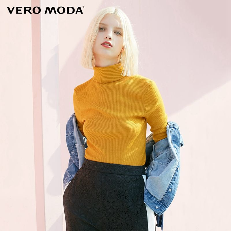 Vero Moda  Fall 100% Wool Slim Fit Minimalist Knitted Base turtleneck Knitted Sweater women | 318324522