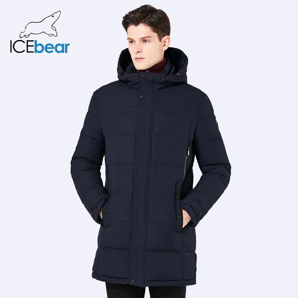 ICEbear 2017 Soft Fabric Winter Men's Jacket Thickening Casual Cotton Jacket Winter Mid-Long Parka Men 17MD962D