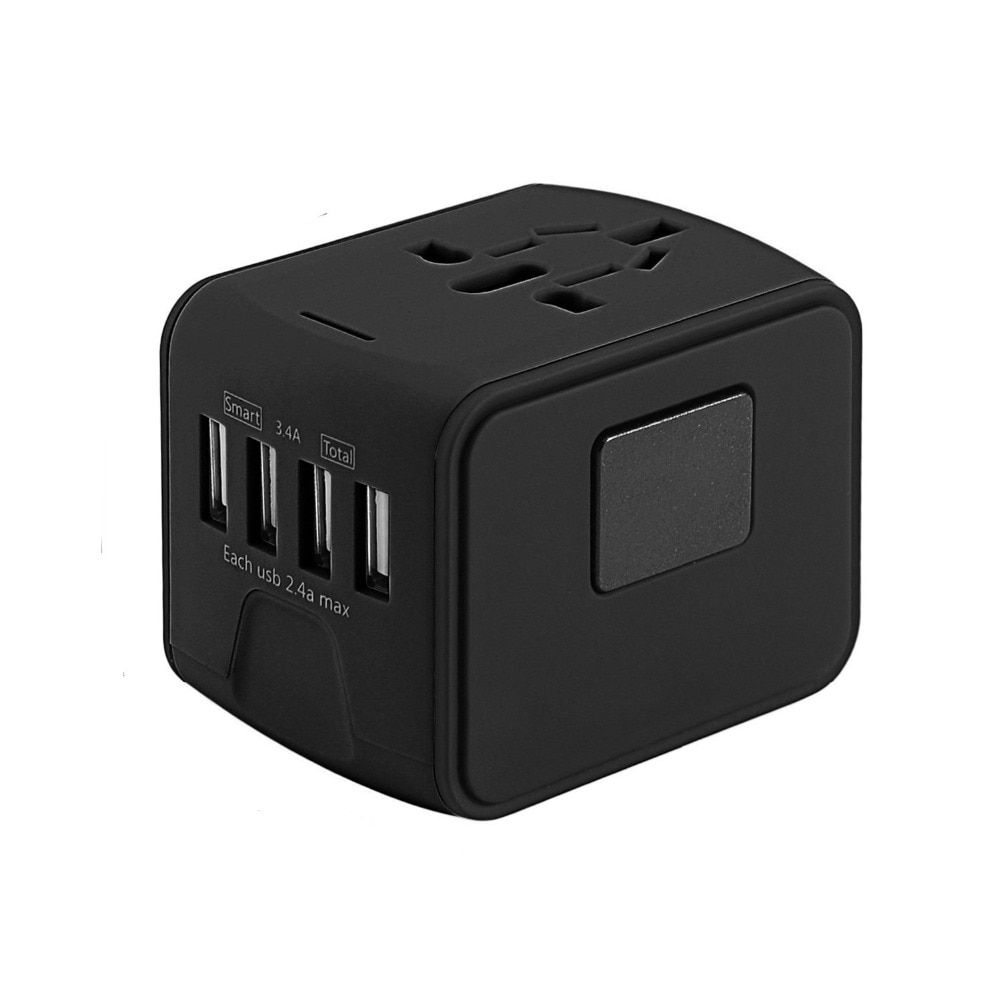 3 colors 4 USB Ports 3.4A Travel Charger Universal AC Wall Outlet Plugs Power Worldwide Adapter Charger for US / EU / UK / AU