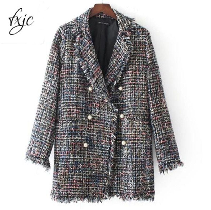 2017 Autumn Pearl Button Jacket Hairy Colorful Knitted Turn Down Collar Coat Long Style Outwear Wool Blends Tops