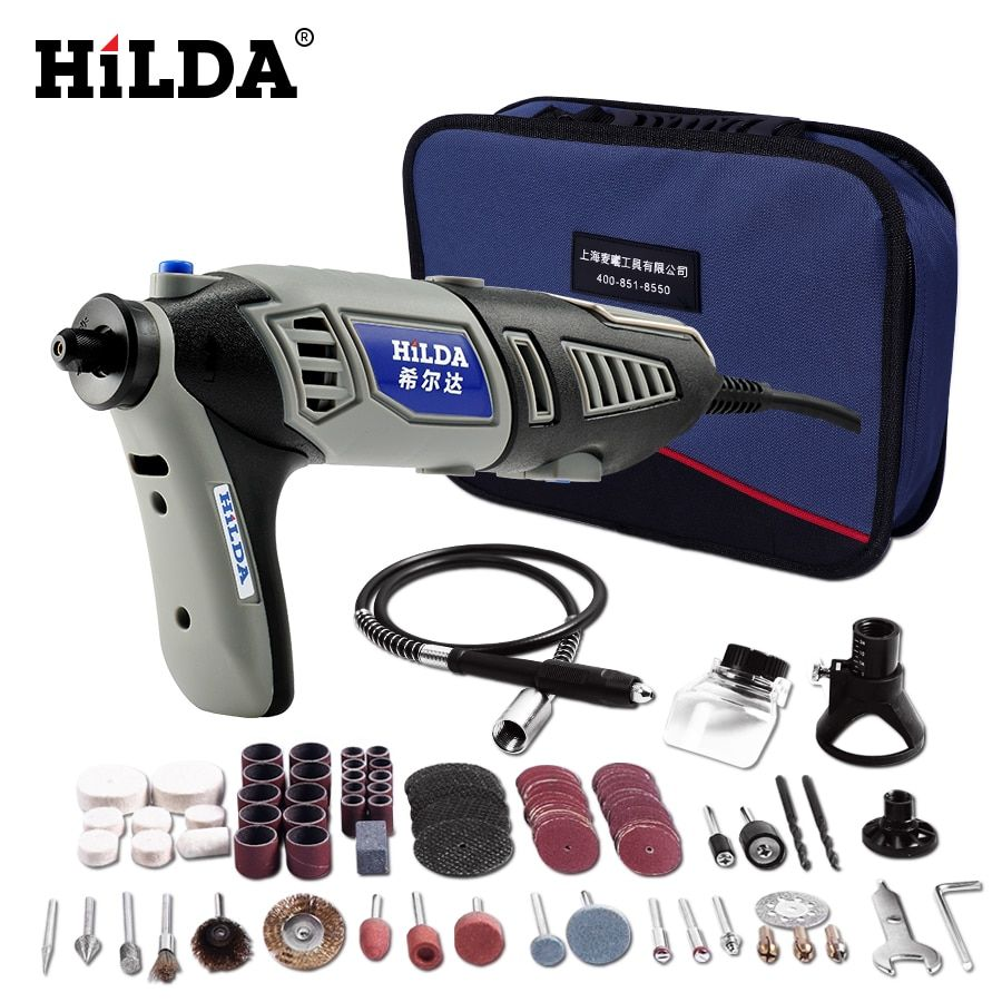 HILDA 220V <font><b>180W</b></font> Dremel style Electric Rotary Power Tool Mini Drill with Flexible Shaft 133pcs Accessories Set Storage Bag