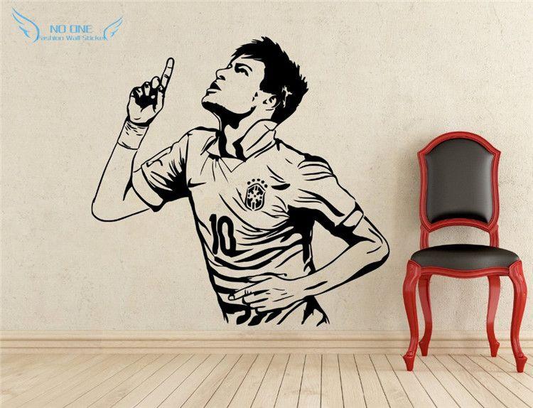 Décoration de la maison affiches sport stickers muraux PVC vinyle amovible Art Mural Football Star Neymar buts garçons chambre stickers muraux
