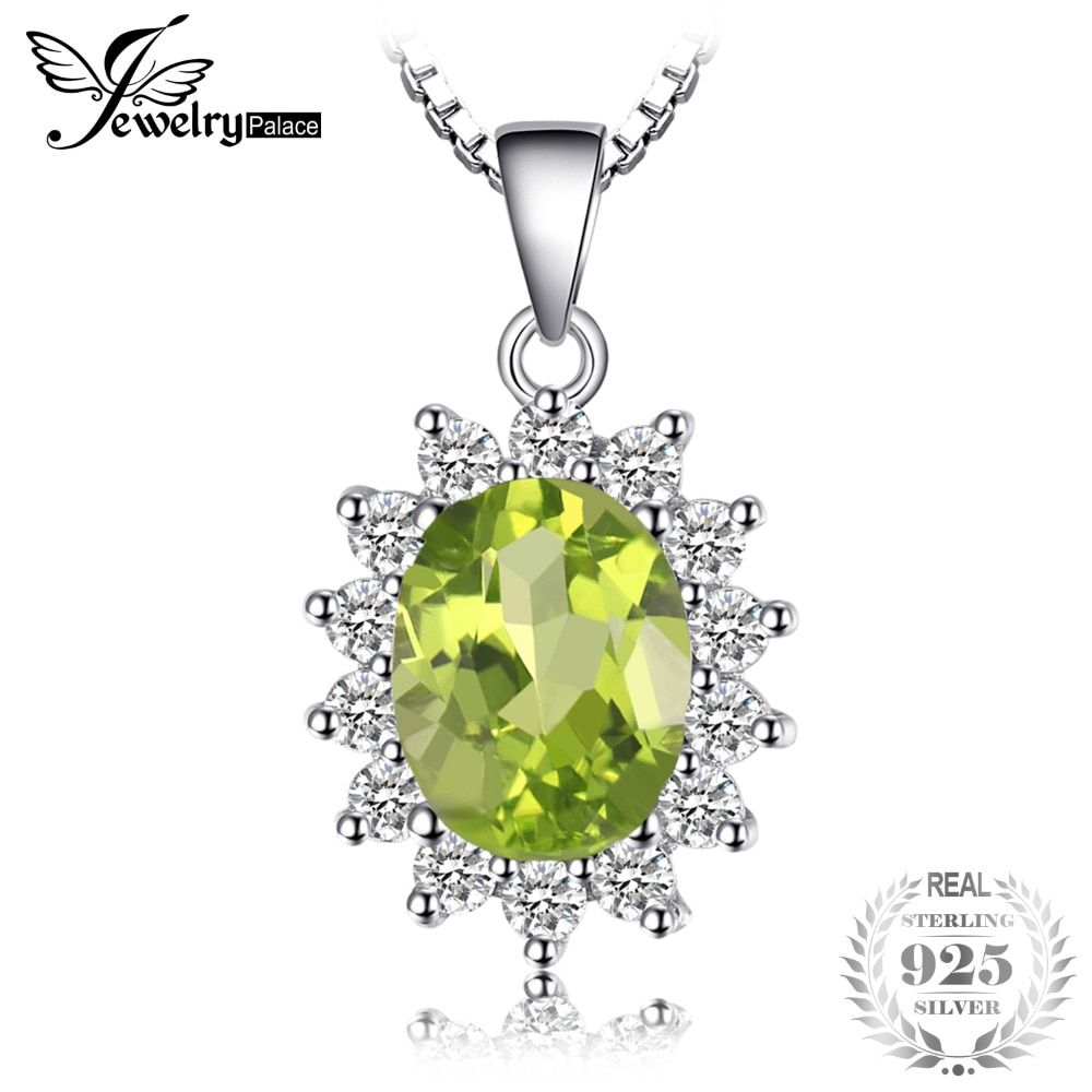 JewelryPalace Princess Diana William Kate 2.2ct Natural Peridot Solid 925 Sterling Silver Halo Pendant For Women Accessories