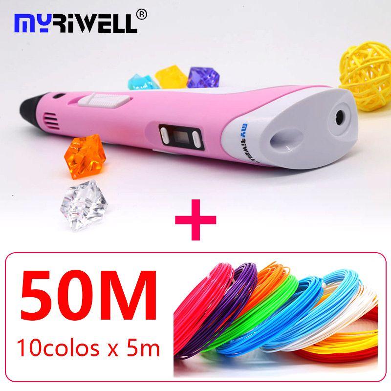 2018 Myriwell 3d pen 3d pens abs 1.75mm pla filament LED display 3d magic pen designed for kids <font><b>graffiti</b></font> pen