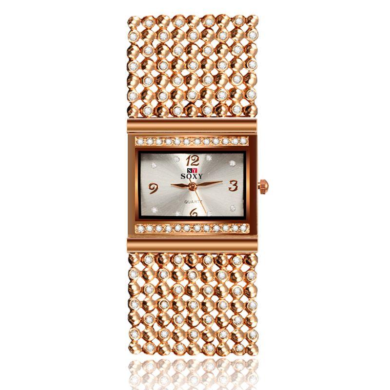 2017 nueva venta caliente pulsera de las mujeres relojes dama de la moda de regalo de oro rosa rhinestone soxy superior del diseñador de la marca de lujo relogio feminino