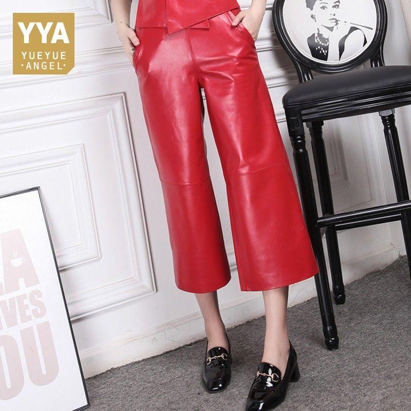 Neue 2019 Herbst Schaffell Leder Hosen Weibliche Rot Büro Dame Hose Lose Elastische Taille Breite Bein Hosen Frauen Mode Hose frau
