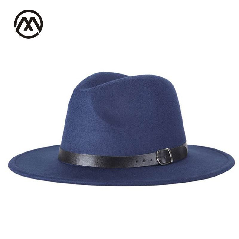 New autumn and winter men's fedora hats unisex solid belt fashion caps large size warm and comfortable adjustable wool cowboy