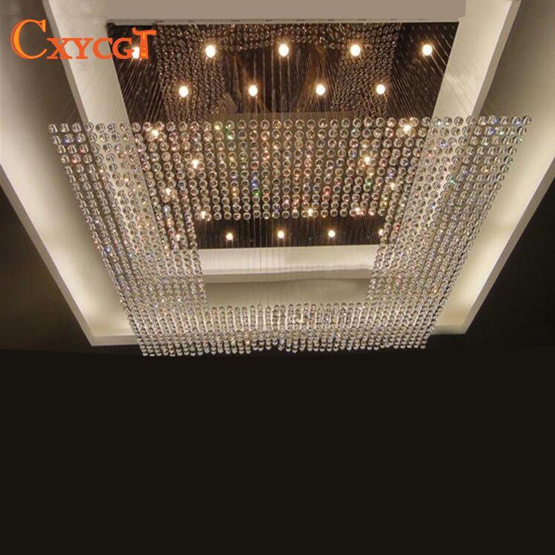 new square modern string big crystal chandelier hotel lobby chandelier lighting free shipping