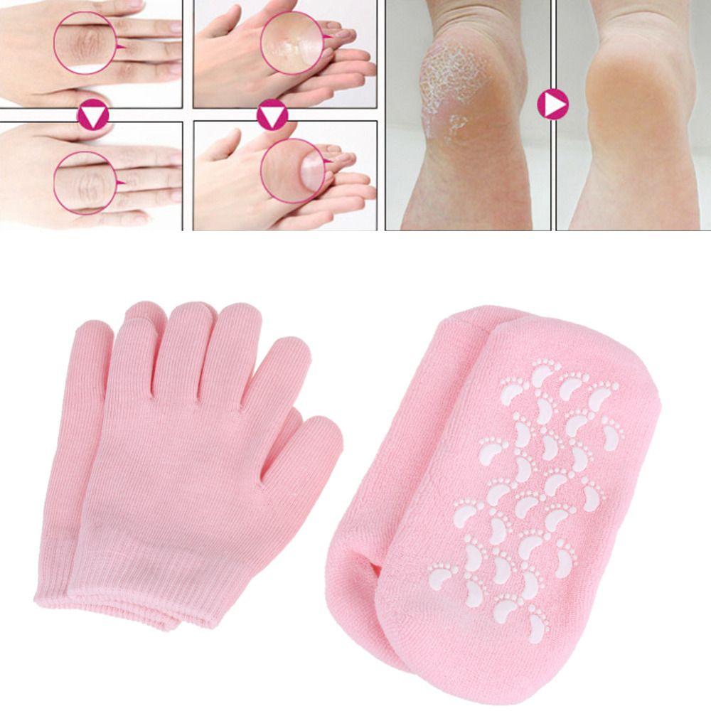 Gel de SPA réutilisable chaussettes gants hydratant blanchissant exfoliant masque pour les pieds sans âge lisse masque pour les mains soins des pieds Gel de Silicone chaussettes