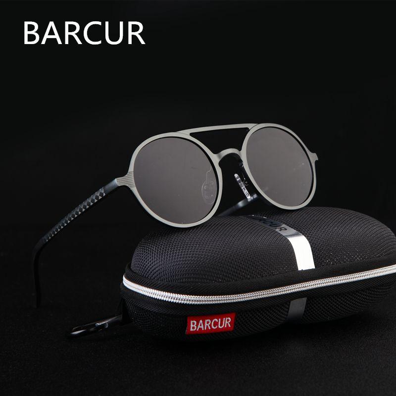 Brand Designer Steampunk Sun glasses <font><b>Female</b></font> Retro Aluminum magnesium Sunglasses Men Round Sunglasses Polarizes oculos de sol