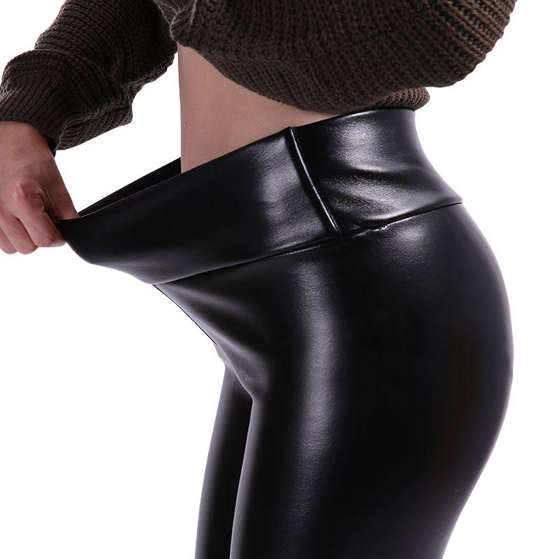 NORMOV S-5XL Plus La Taille En Cuir Leggings Femmes Taille Haute Leggings Stretch Slim Noir Legging De Mode PU Pantalon En Cuir Femmes