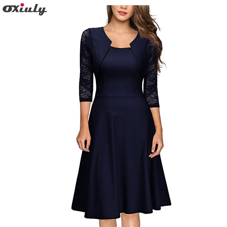 Oxiuly Women's Elegant Summer Lace Sleeve Tunic Pin Up Vintage Work Office Casual Party Pleated A Line <font><b>Skater</b></font> Dress with Pocket