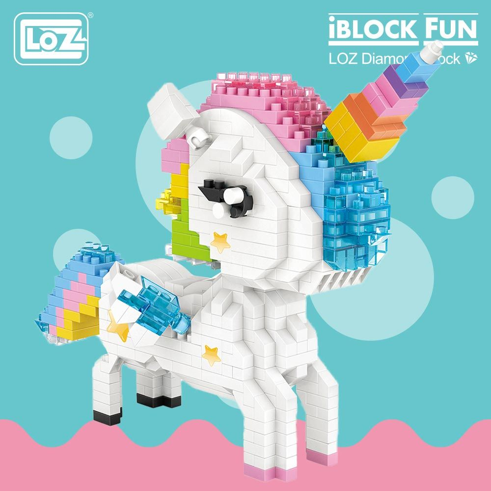 LOZ Diamond Blocks Rainbow Unicorn Anime Action Figure Cartoon Colorful Animals Educational Bricks Toys for Children DIY 9204
