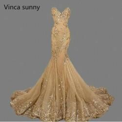 vestido de festa Luxury Evening Gowns Sweetheart robe de soiree Gold Sequins Mermaid Evening Dresses Long 2019 Best Selling