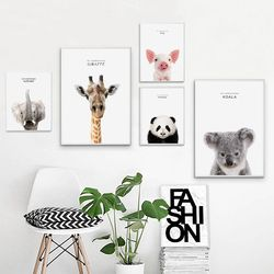 Giraffe Zebra Lion Elephant Animal Posters and Prints Canvas Art Painting Wall Art Nursery Decorative Picture Nordic Style Decor