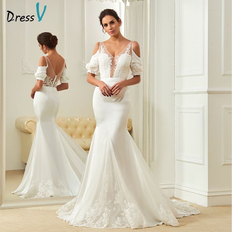 Dressv lace mermaid wedding dress ivory v neck court train short sleeves zipper up long bridal gowns appliques wedding dresses