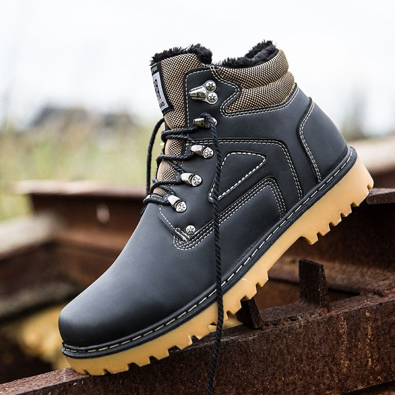 Autumn Winter New Men's Leather Boots, British Equipment, Boots, Retro Shoes, Men's High Hand, Round Head, Suede, Martin Boots