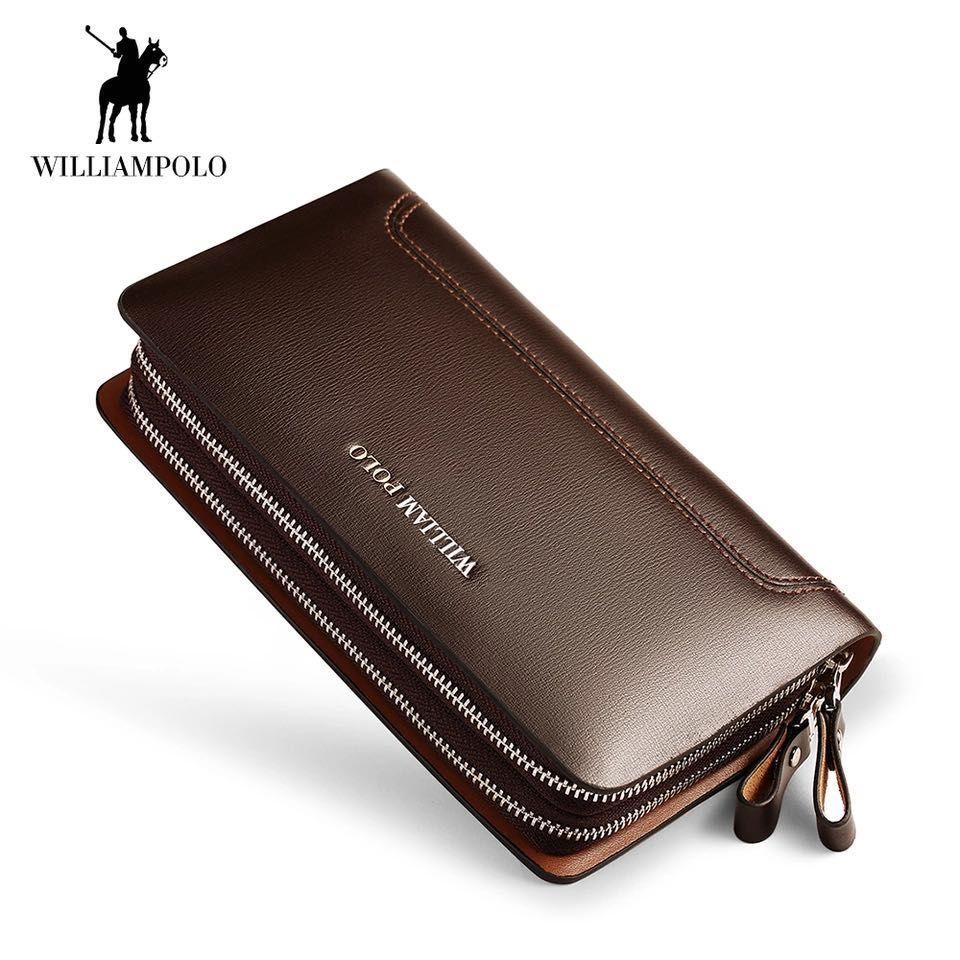 Männer Mode-Business Kleine Kupplung Brieftasche 100% Echt Leder WILLIAMPOLO 2018 Neue Design Doppel-reißverschluss Rindsleder handtasche Schwarz Braun