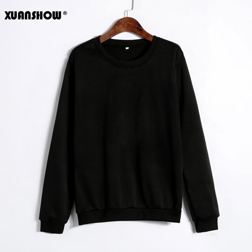 XUANSHOW 2019 Unisex Sold Color Clothes Fleece Long Sleeve Sweatshirt Man Woman Pullover Moletom Sudadera Mujer S-5XL