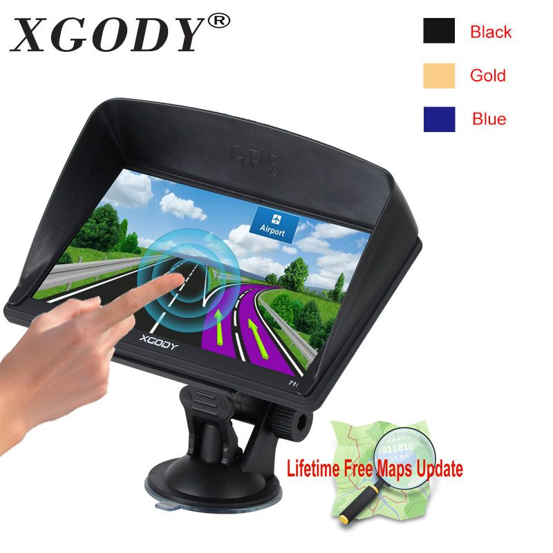 Xgody 715 7 Inch Gps Navigation Car Truck Gps Navigator 128MB+8GB Capacitive Screen Sat Nav Newest Europe Map Russia Navitel