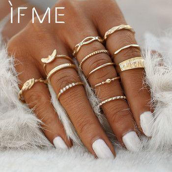 SE ME 12 pçs/lote Águia Conjunto Anel de Cristal da Cor do Ouro Para O Engajamento Das Mulheres Midi Anéis de Dedo Partido Jóias Para Meninas anillos Presentes