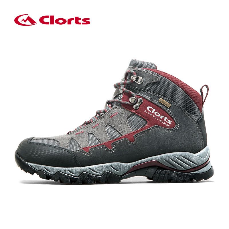 Clorts Men Hiking Shoes HKM-823A/B Mid-cut Cow Suede Hiking Boots Rubber Sport Trekking Shoes for Men