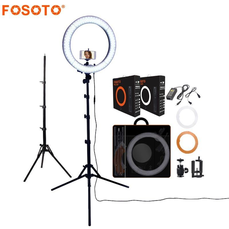 FOSOTO RL-18 photography lighting Dimmable 55W 5500K Ring Lamp Camera Photo Studio Phone Video Led Ring Light With Tripod Stand
