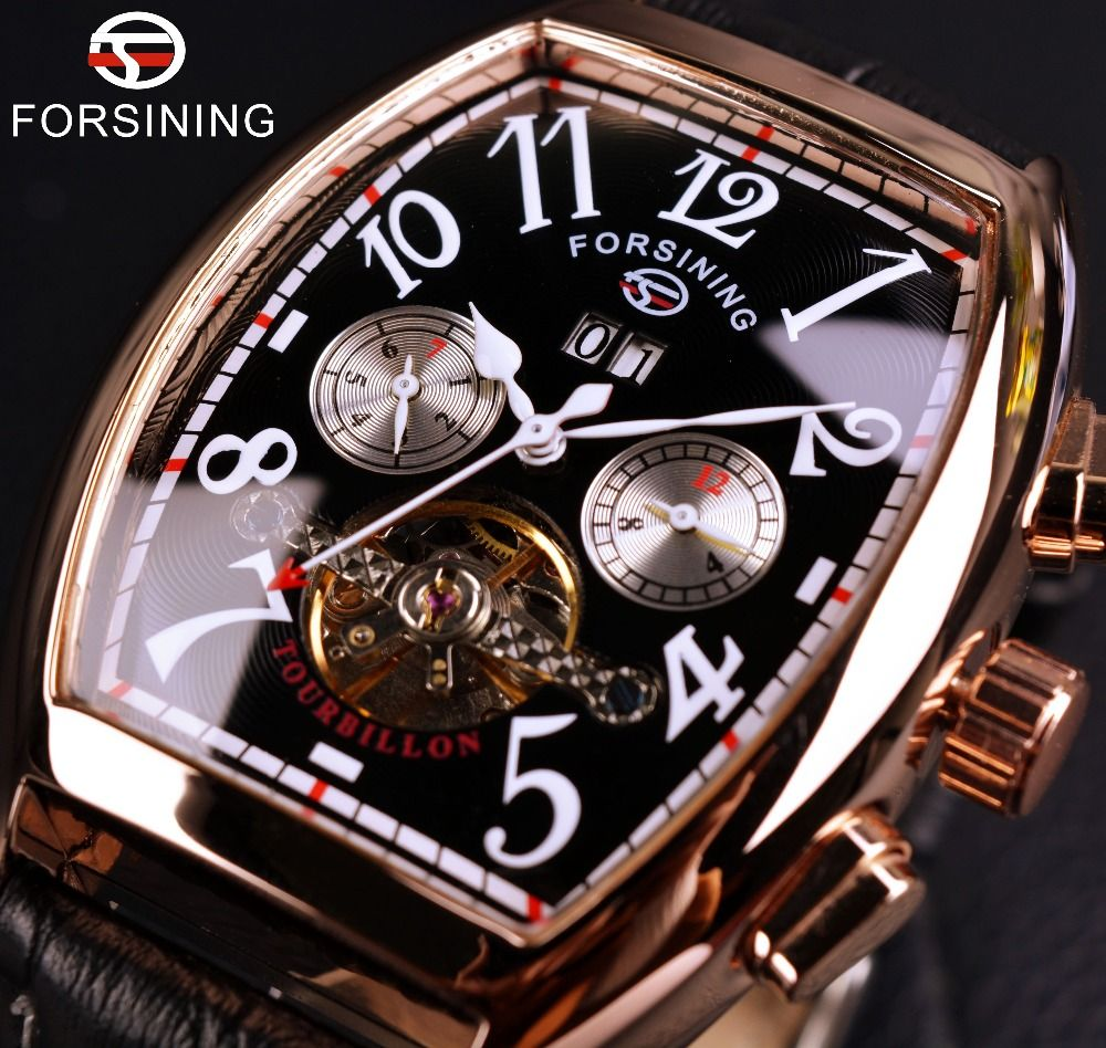 Forsining Date Month Display <font><b>Rose</b></font> Gold Case Mens Watches Top Brand Luxury Automatic Watch Montre Homme Clock Men Casual Watch
