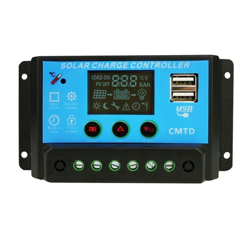 20A 12V/24V Solar Panel Charge Controller PWM LCD Battery Regulator Regulator Mppt Smart Solar Battery Charger Controller