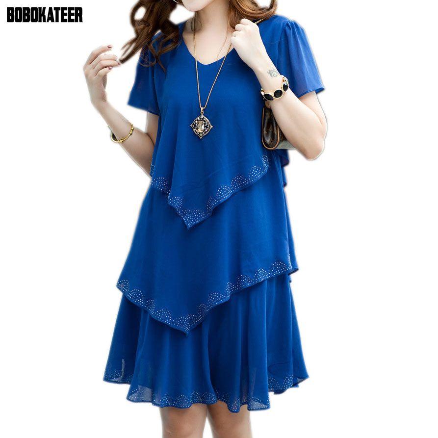 BOBOKATEER Robe d'été 2019 bleu robes De soirée femmes Robe en mousseline De soie Robe Sexy Vestido De Festa 4XL 5XL grande taille femmes vêtements