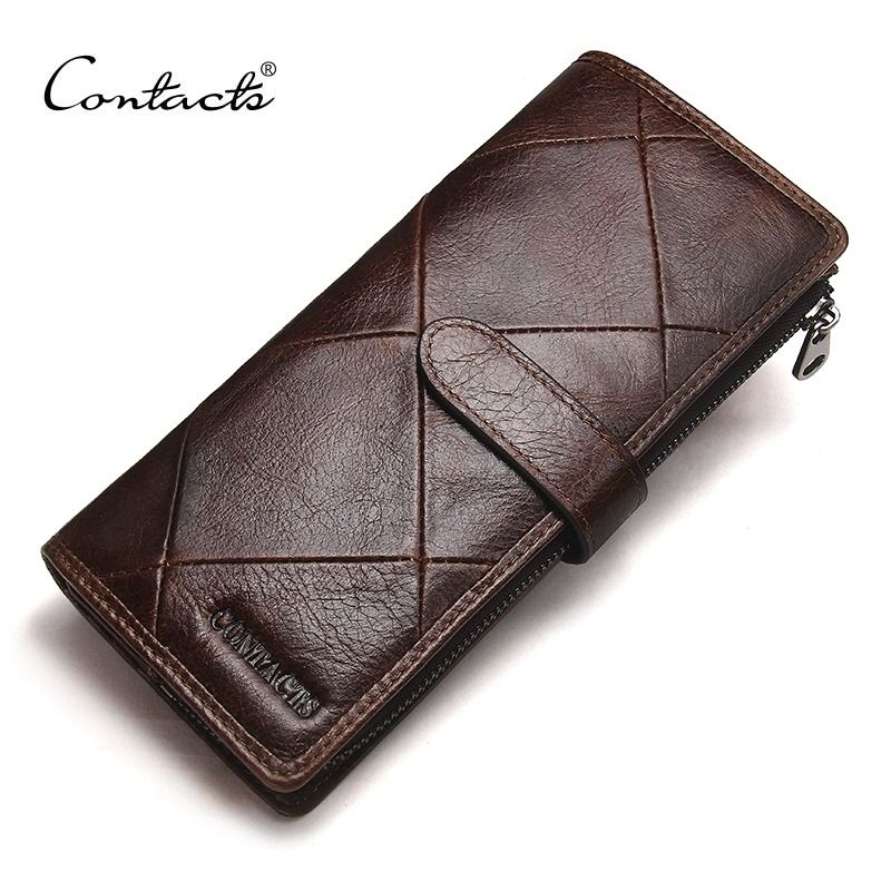 CONTACT'S New Fashion Men Wallet Long <font><b>Genuine</b></font> Leather For Male Luxury Brand Purses and Female Clutch Wallets With Coin Pockets