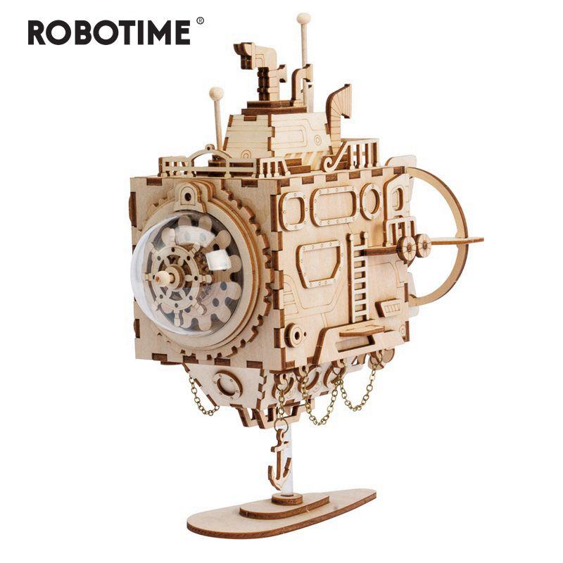 Robotime Creative bricolage 3D Steampunk sous-marin en bois Puzzle jeu assemblage boîte à musique jouet cadeau pour enfants adolescents adultes AM680