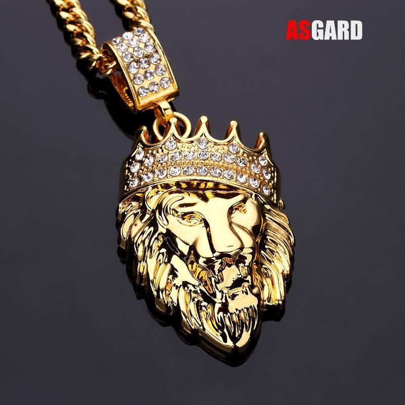 ASGARD Hombres Joyería Hip Hop Hacia Fuera Helado Oro Bling de La Manera Lion cabeza Colgante de Los Hombres Collar de Oro Lleno de Hombres Mujeres Regalo Al Por Mayor