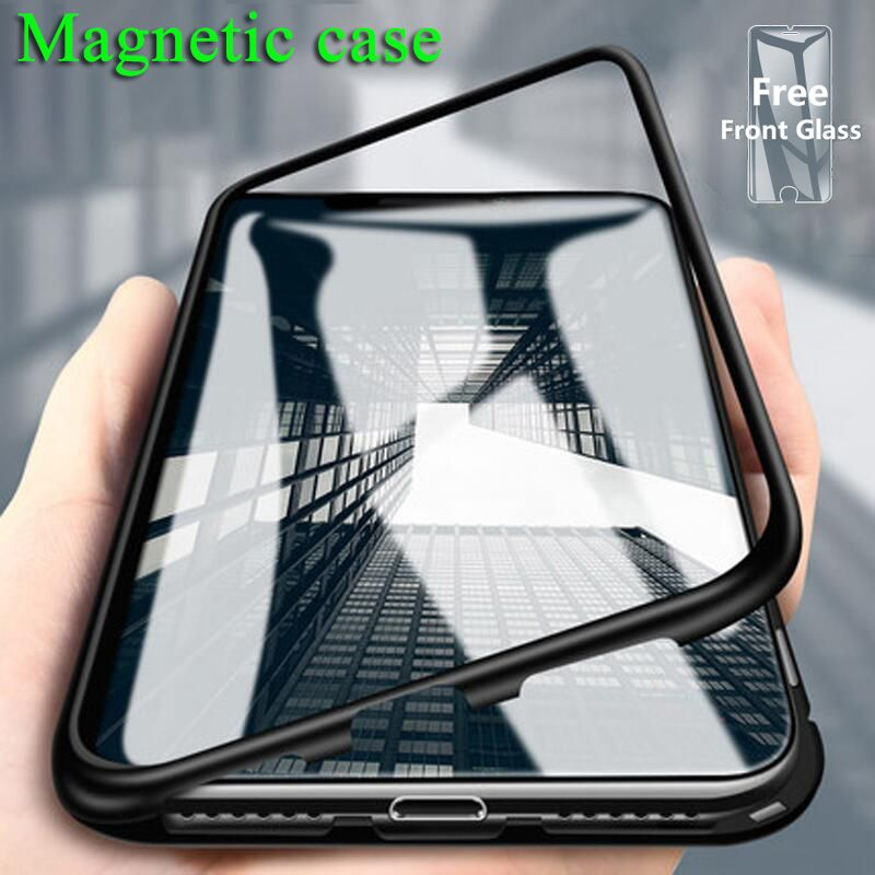 S-GUARD Magnetic back Phone Case for IPhoneX 8 7 6s plus Clear Tempered Glass Built Magnet Case for IPhone XR XS MAX Metal Cover