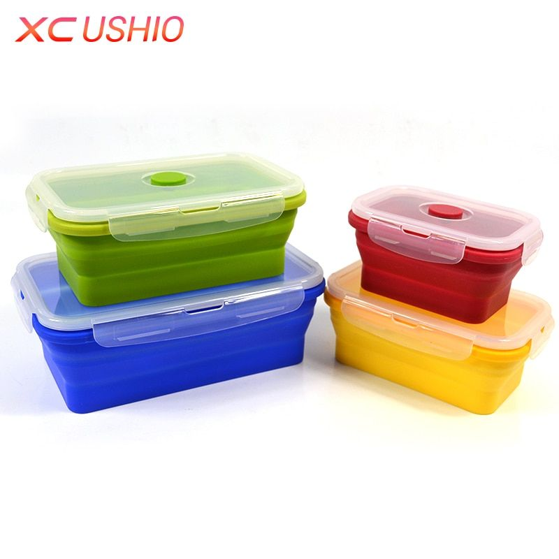 4pcs/set Silicone Lunch Box Folding Food Grade Silicone Container Portable Collapsible Food Picnic Fruits Storage Box