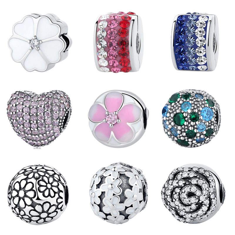 Authentic 925 Sterling Silver Clip Stopper Bead Charm Women Original Charms Fit Pandora Bracelets Bangles DIY Jewelry 35 Styles