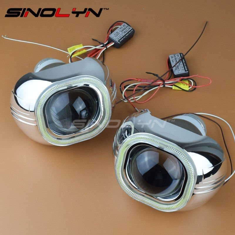Стайлинга автомобилей фар объектив би ксенон с COB LED DRL Ангельские глазки Q5 HID автомобиль проектор квадратный фары Оптические стёкла Примене...