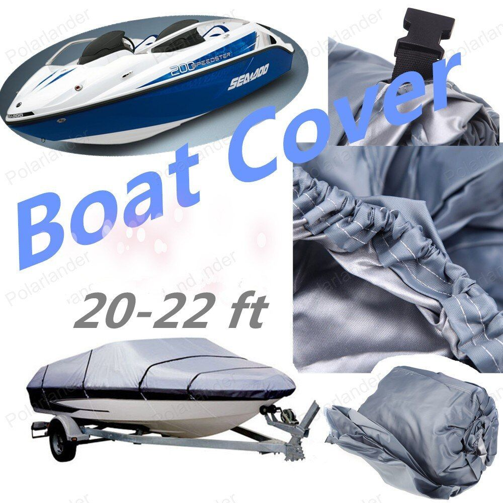 New Fishing Boat Cover 210D Speedboat Accessories V-Hull UV Protected cloth  20-22ft Sunproof Waterproof