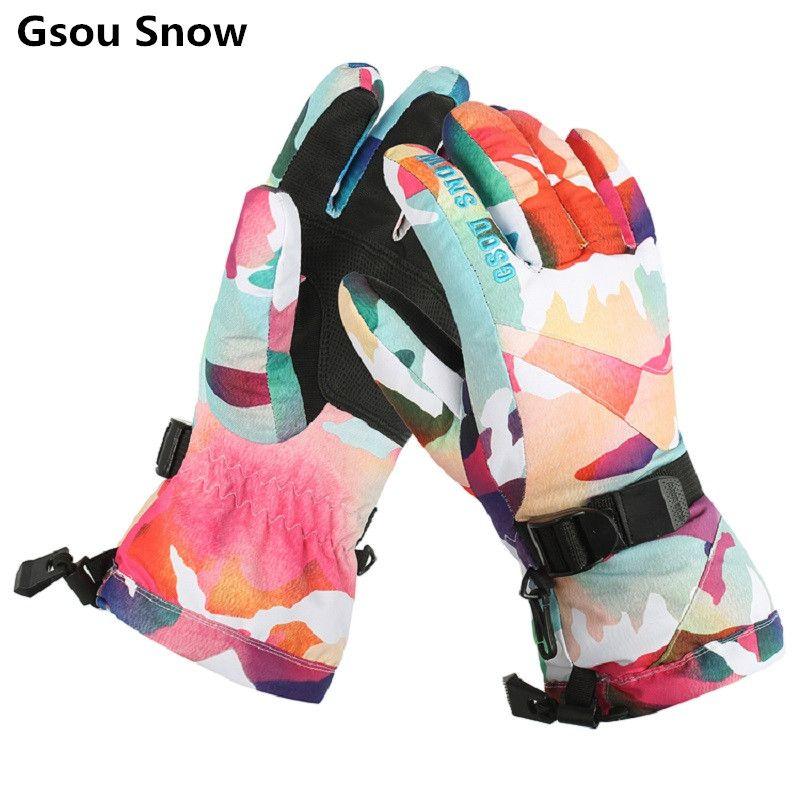 Gsou Schnee winter ski handschuhe frauen leopard snowmobile snowboard handschuhe camping damen mountain ski handschuhe gants ski femme