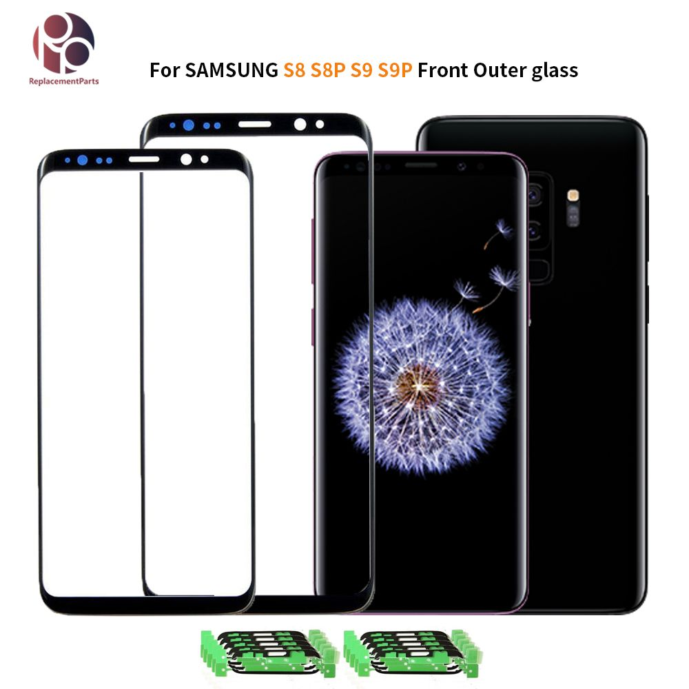 OEM Front Outer Glass for Samsung Galaxy S8 G950 S8PLUS G955F S9 S9+ G960 G965 Front Screen Lens Cover Replacement with Sticker