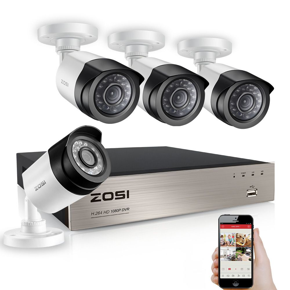 ZOSI 8CH 1080P TVI DVR 2.0MP 1080P CCTV Camera P2P Home Outdoor Security Camera Surveillance CCTV System Kits