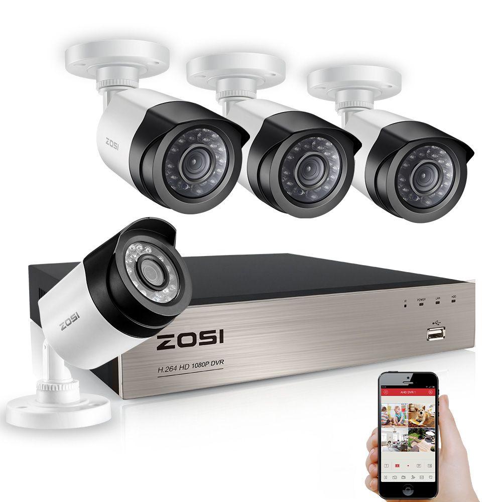 ZOSI 8CH 1080P TVI DVR 2.0MP 1080P CCTV Camera P2P Home Outdoor Security Camera Surveillance CCTV System Kits