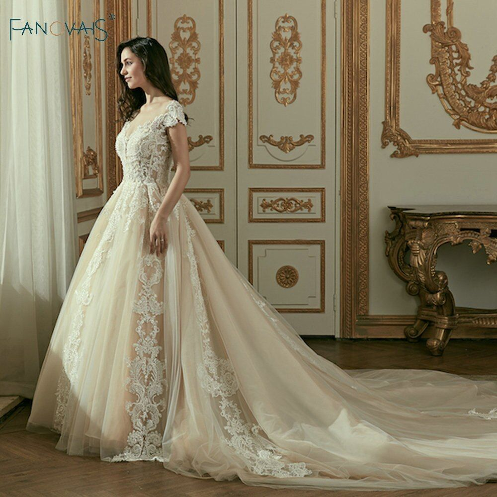 Vintage Lace Wedding Dresses Cap Sleeves Long Train Ball Gowns for Wedding Vestidos Cerimonia 2018 Vestido De Noiva Princesa