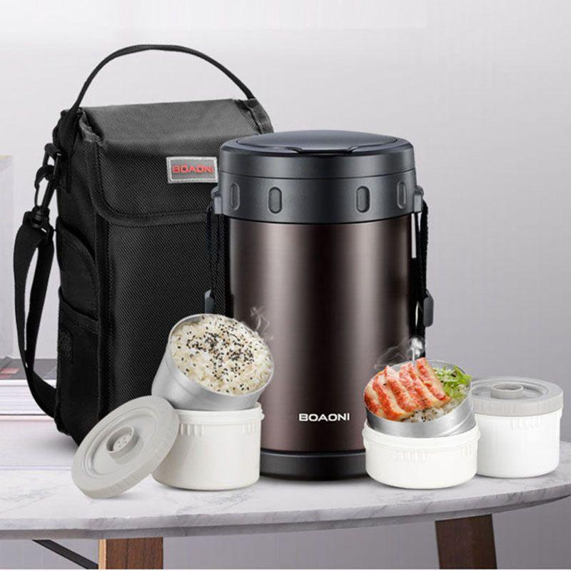BOAONI 2.2L Thermos Essen Mittagessen Box Vakuum Isolierte Edelstahl Thermische Suppe Box Küche Halten Wärme Behälter Mit Löffel Tasche