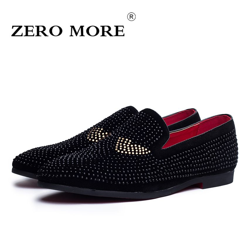 <font><b>ZERO</b></font> MORE New Season Fashion Men's Loafers Microfiber Pointed Toe Men Shoes High Quality Paste Drill Men Flat Shoes #ZM102
