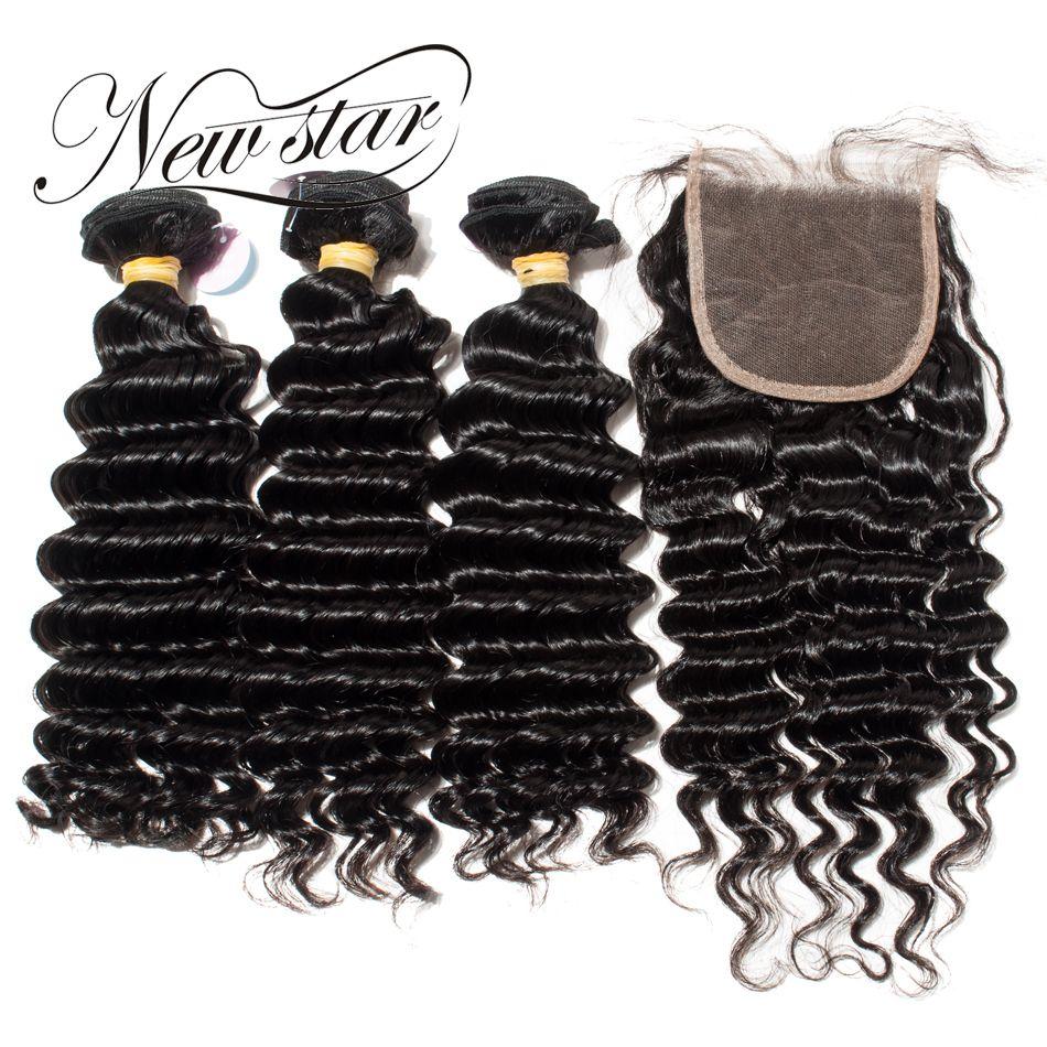 New Star Deep Wave Brazilian Human Hair Extension 3 Bundles With Matched 4x4 Closure Free Style Virgin Hair Weaving Bundles