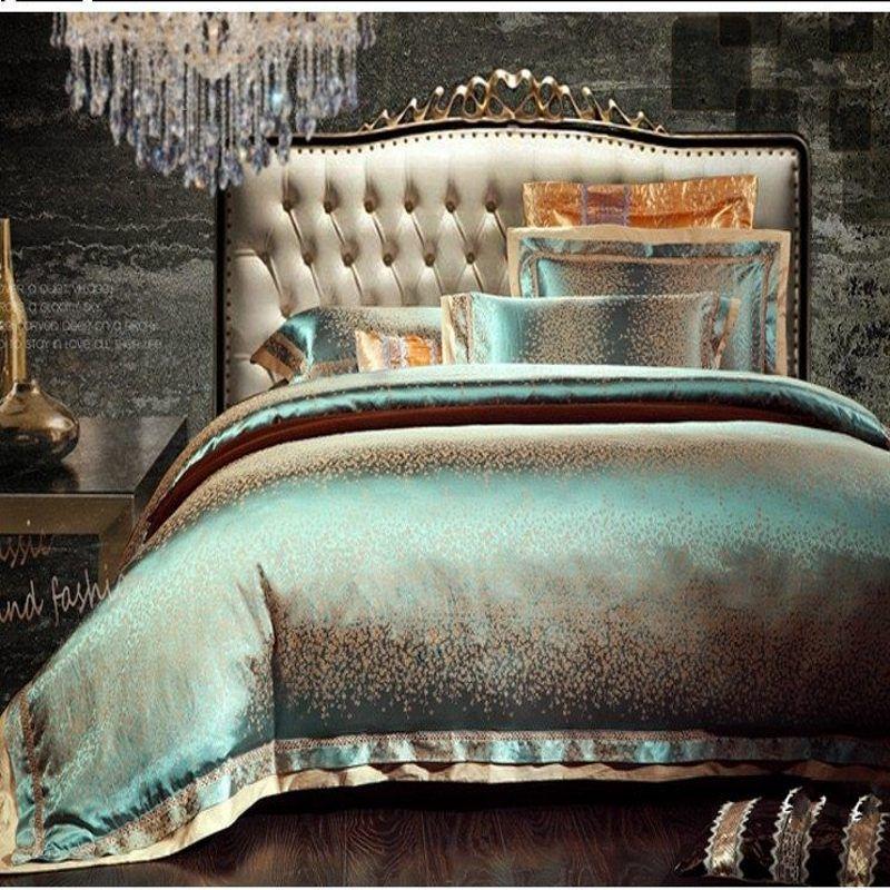 4/6 pcs Vert Jacquard Satin ensemble de literie roi reine De Luxe Hommage Soie couette/housse de couette linge de lit literie ensemble textile de maison